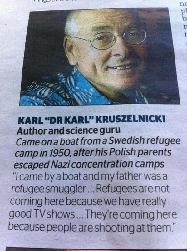 Australia Poland Dr Karl Kruszelnicki refugee