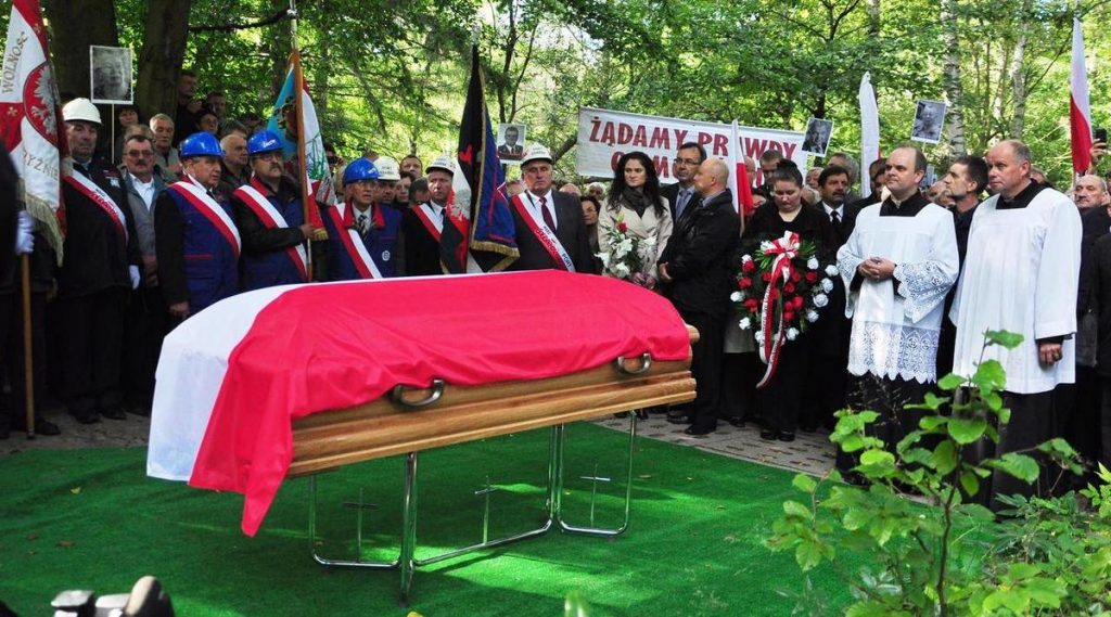 polish flag at a funeral